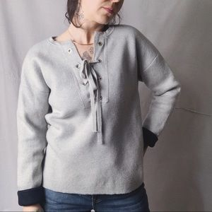 J. CREW COLLECTION Bonded Lace Up Sweater